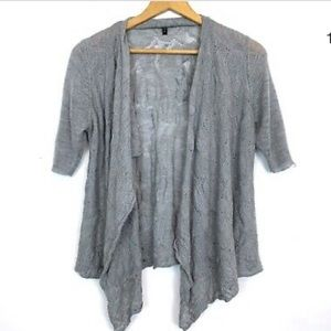 Eileen Fisher  wool cardi  w/ 1/2 length sleeves